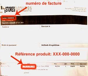 réféence produit et numéro de facture