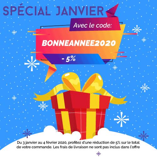 promotion, -5% sur la commande, spécial mois de janvier avec le code BONNEANNEE2020
